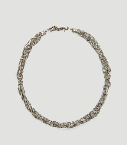 LOULOU CLOSE-FITTING NECKLACE WITH TWISTED CHAINS IN SILVER BRASS