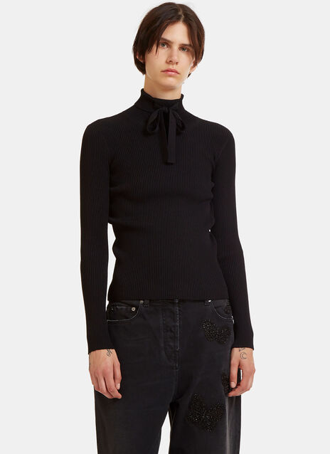 Ribbon Tied Ribbed Roll Neck Sweater