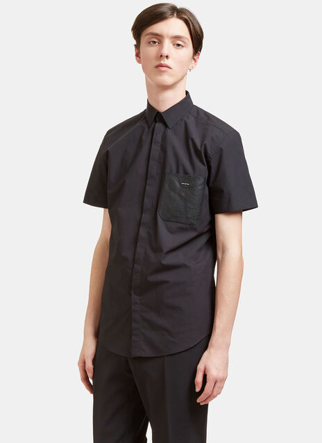 Stapled Leather Patch Pocket Shirt
