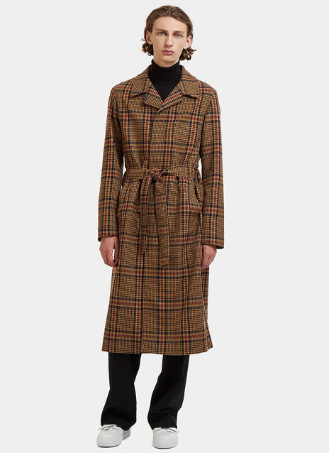 Long Checked Single-Breasted Tailored Coat