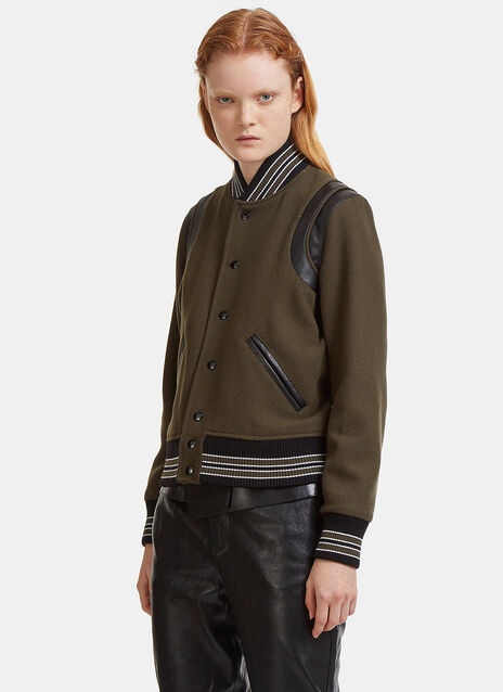 Leather Panelled Woven Teddy Jacket