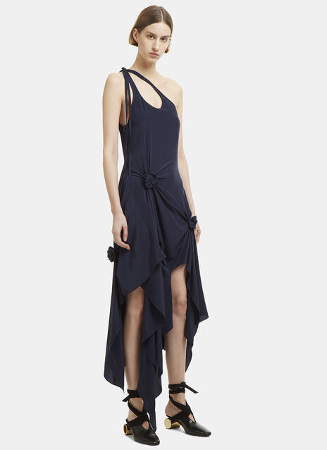 Asymmetric Ruched Rosette Dress