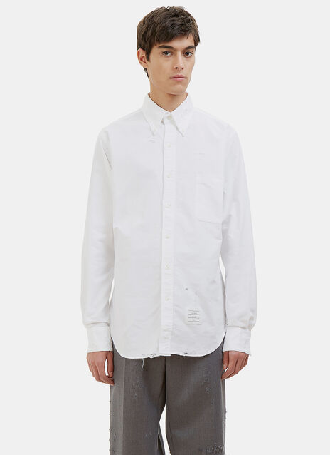 Phase 3 Distressed Pointed Collar Oxford Shirt