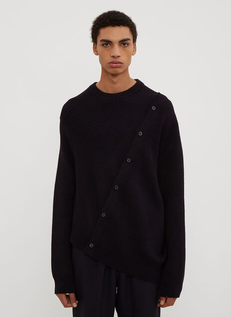Lanvin Asymmetrical Button Front Knit Sweater in Navy