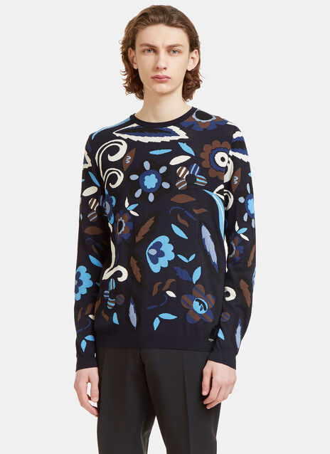 Garden Print Crew Neck Knit Sweater