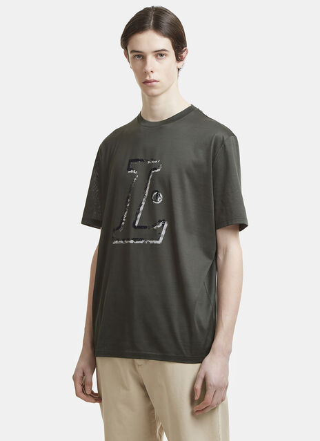 Lanvin Destroyed L Flocked Logo T-Shirt