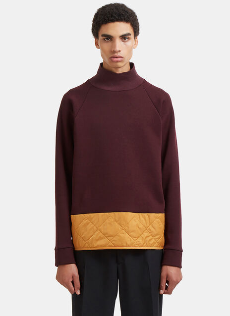 Diamond-Quilted Roll Neck Sweater