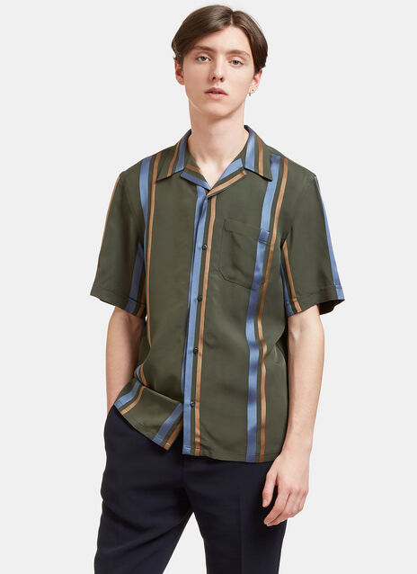 Satin Striped Short Sleeved Shirt