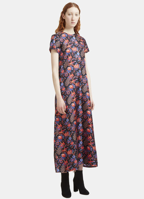 Pavone Nero Print Satin Dress