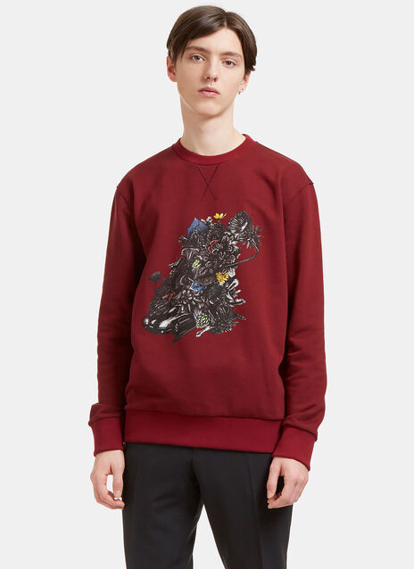 Printed Graphic Crew Neck Sweater