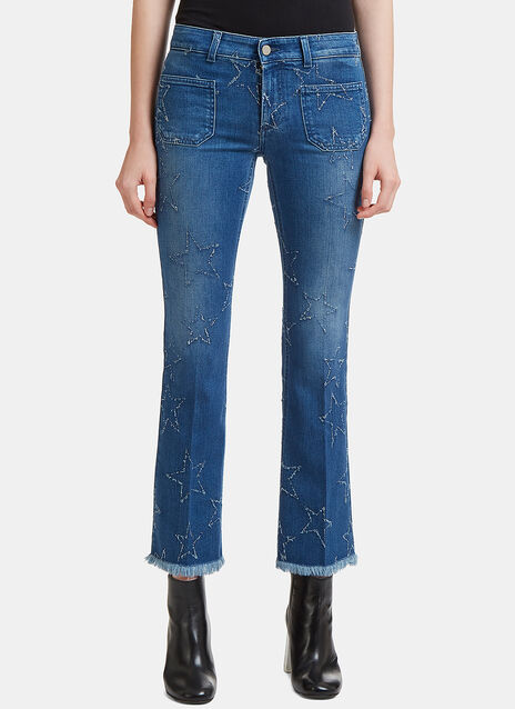Star Embroidered Kick Flare Jeans