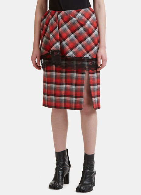 Pleated Checked Lace Trim Skirt
