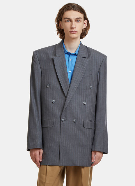 Martine Rose Double-Breasted Low Break Pinstripe Coat