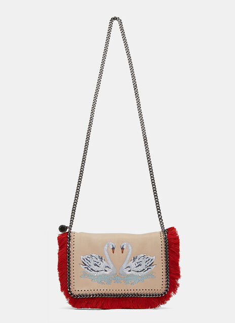 Fringed Falabella Swan Embroidered Crossbody Bag