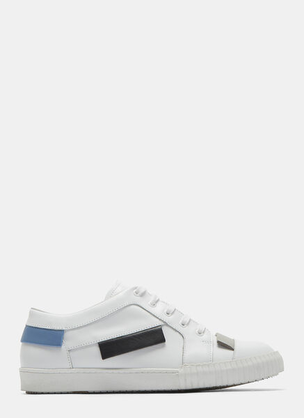 Contrast Panel Leather Sneakers