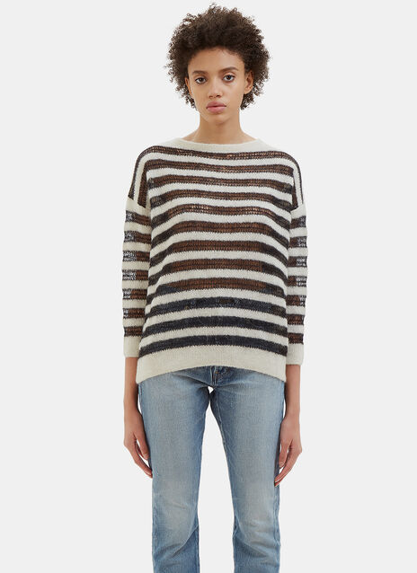 Holey Striped Mohair Knit Sweater