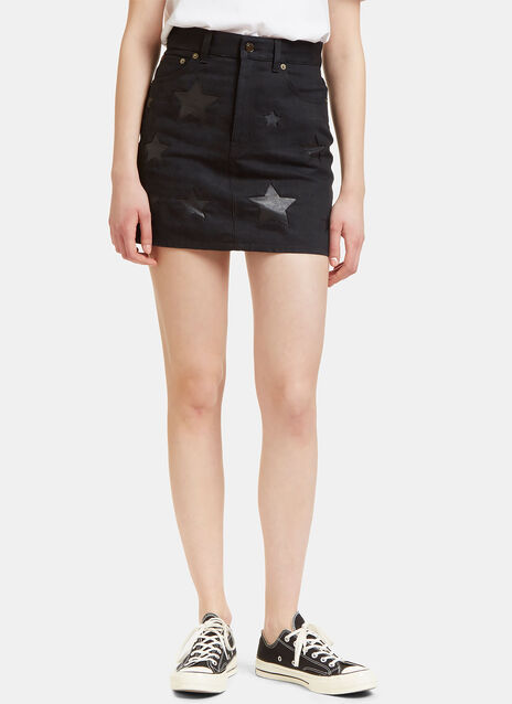 Denim Mini Skirt with Leather Stars
