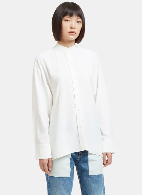 Raw Side Tie Twill Tunic Shirt