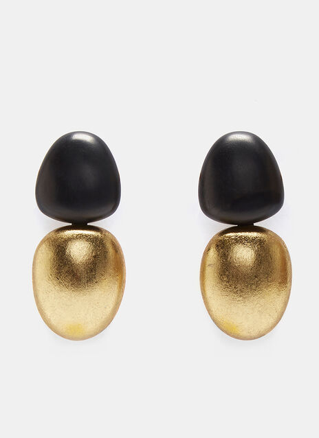 7763 Ebony and Metallic Clip-On Earrings