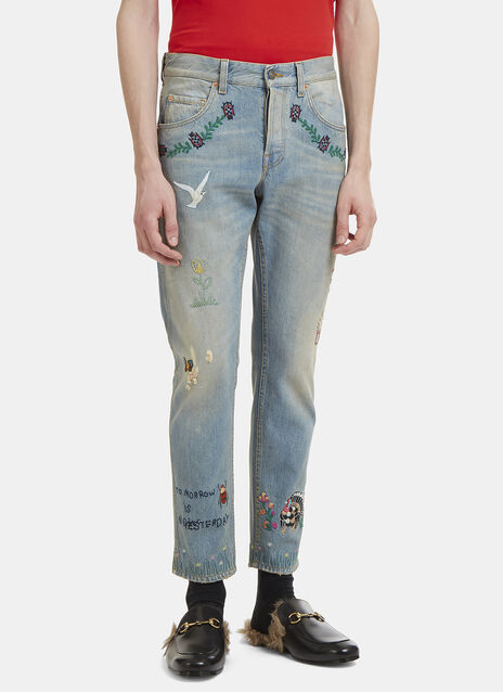 Gucci Embroidered Tapered Cotton Jeans