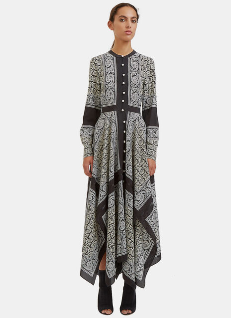 Winne Long Paisley Asymmetric Dress