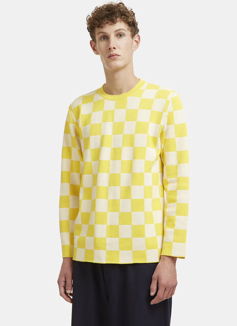 X LN-CC Long Sleeved Checked Knit T-Shirt