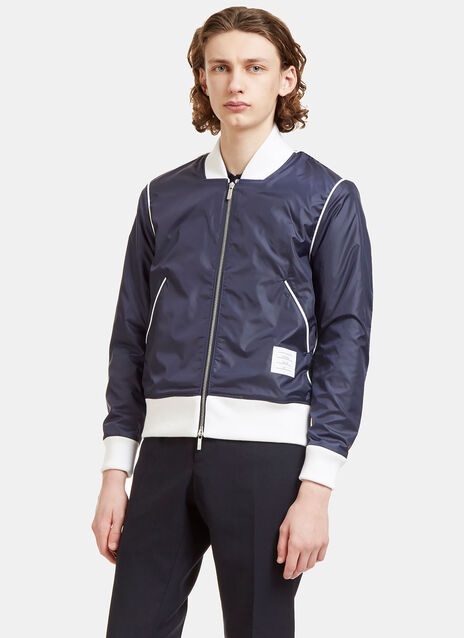Technical Bouclé Knit Lined Bomber Jacket