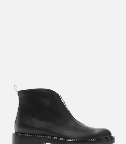 Contrast Fixed Zip Ankle Boots