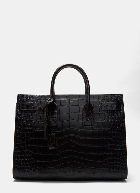 Medium Sac de Jour Souple Crocodile Embossed Leather Handbag