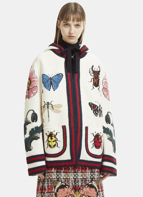 Intarsia Jacquard Insects &Flower Hooded Knit Cardigan