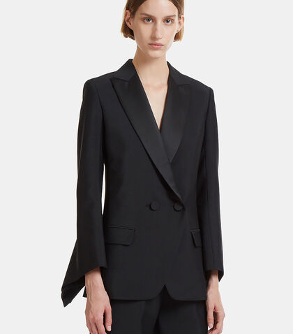 Slit Square Flared Cuff Tuxedo Jacket