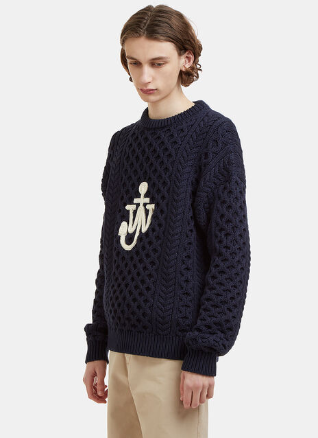 Logo Embroidered Cable Knit Sweater
