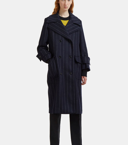 Oversized Double-Breasted Pinstripe Coat
