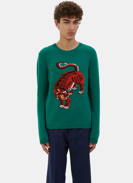 Tiger Intarsia Knit Crew Neck Sweater