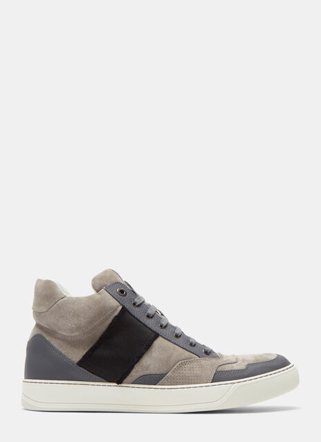 High-Top Suede Panelled Sneakers