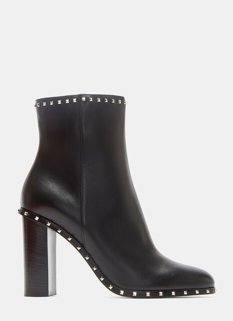 Pyramid-Studded Heeled Ankle Boots
