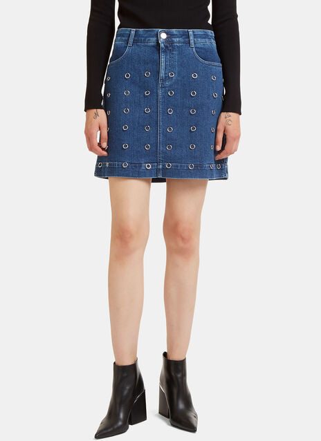 Metal Ring Grid Denim Mini Skirt