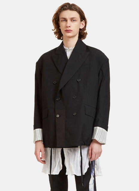 Oversized Double-Breasted Creased Blazer Jacket