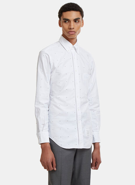 Thom Browne Buttonhole Embroidered Shirt