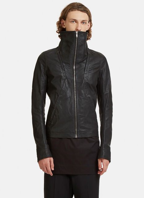Geo High-Cut Collared Leather Jacket