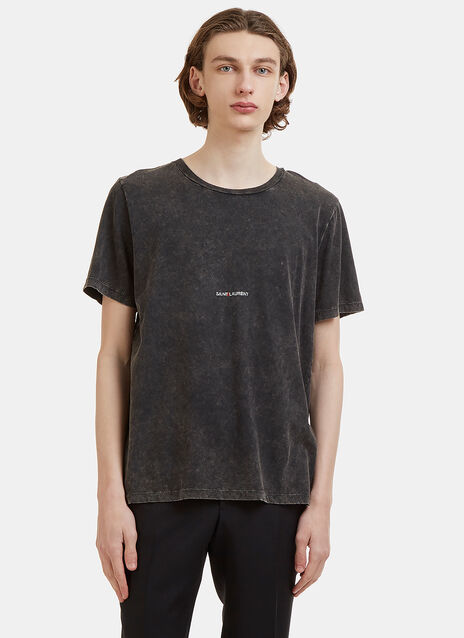 Saint Laurent Distressed Stone Washed Logo Print Crew Neck T-Shirt
