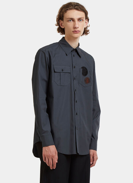 Embroidered Patch Poplin Shirt