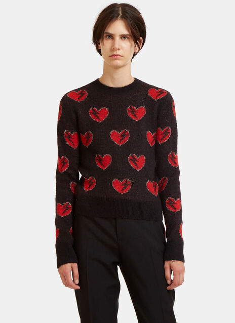 Lightning Bolt Heart Jacquard Mohair Knit Sweater