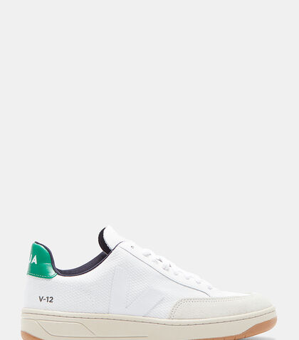 V12 Woven Mesh Panelled Low-Top Sneakers