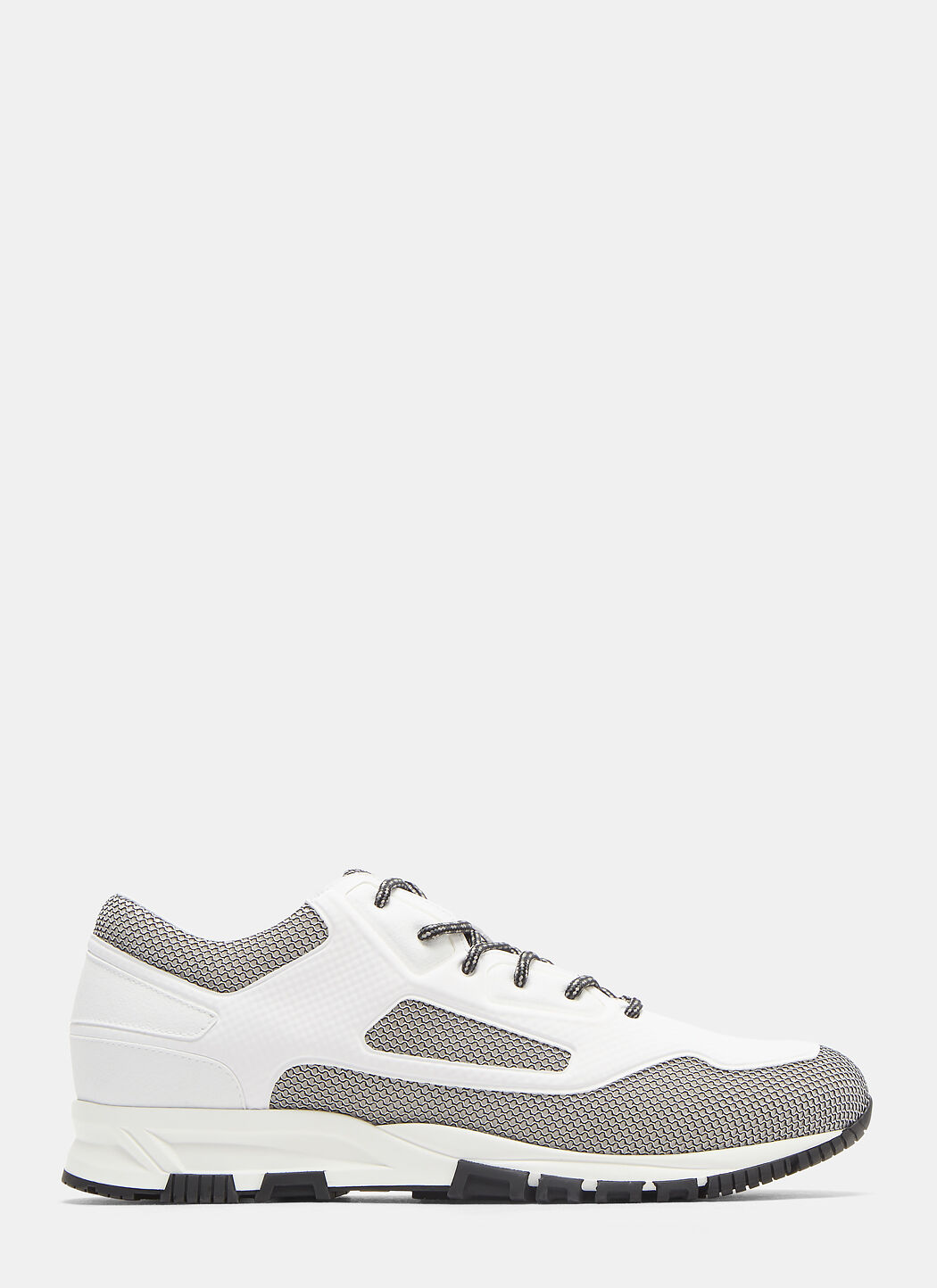 Mesh, Suede And Textured-leather Sneakers - NavyLanvin