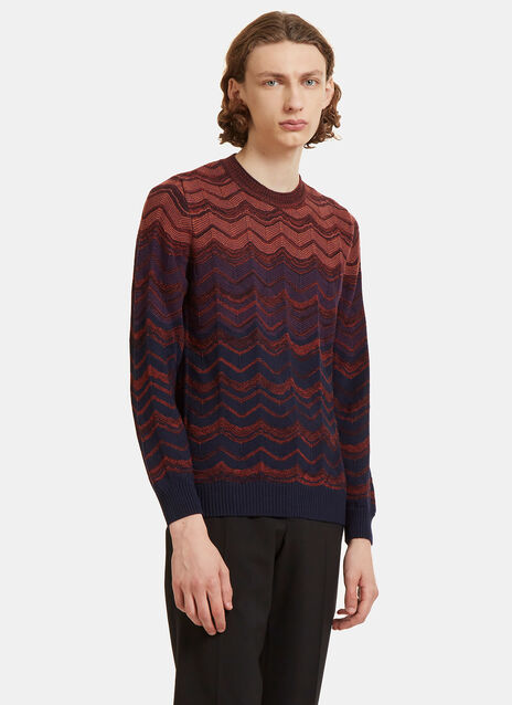 Zigzag Intarsia Knit Crew Neck Sweater