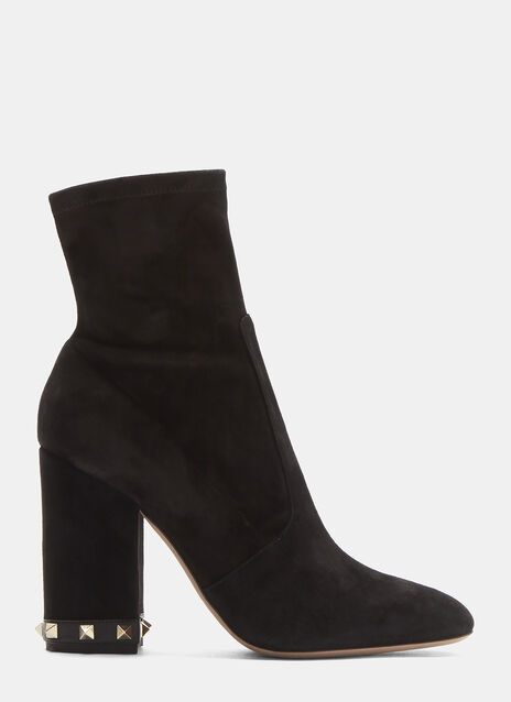 Valentino Rockstud-Heeled Suede Ankle Boots