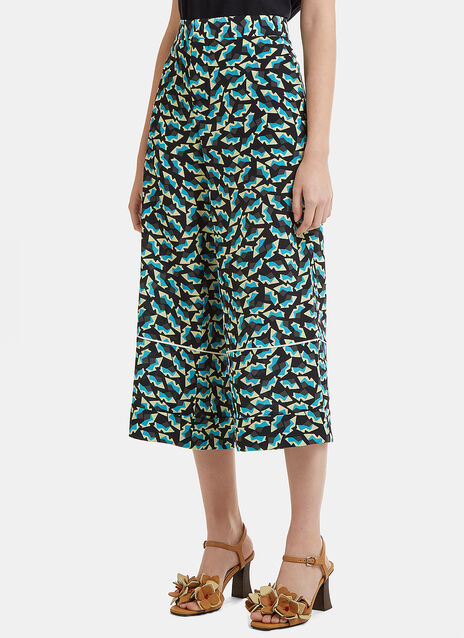 Marni Cropped Printed Silk Pants