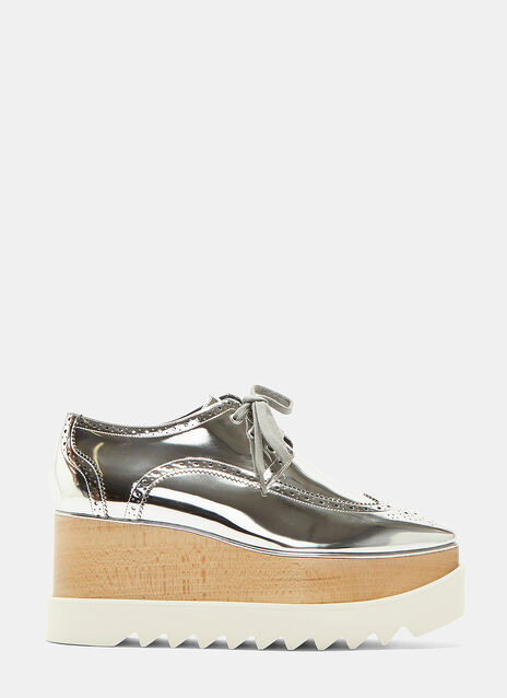 Stella Mccartney Elyse Metallic Brogue Platform Shoes