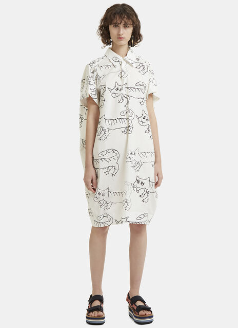 Marni Doodle Tiger Print Shirt Dress